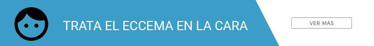 Banner azul sobre cómo tratar el eccema en la cara